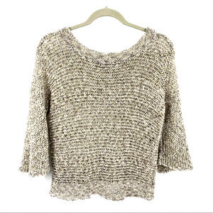 Nic+Zoe Sweater Boatneck Loose knit 3/4 Sleeve